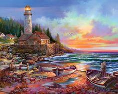 Lighthouse Sunset Paintings - wallpaper.