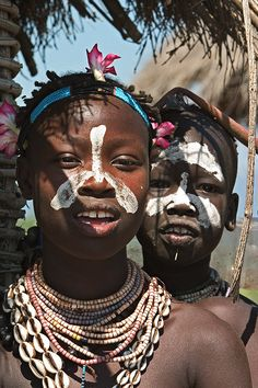 Africa   Karo children Omo valley. Ethiopia