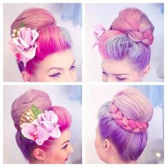 Vintage Updo, Vintage Style, Vintage Fashion, Rockabilly Hair, Pin Up Hair, Rose Hair, Retro Hairstyles, New Haircuts, Mermaid Hair
