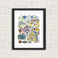 Santiago Chile Watercolor City Illustration Print by SignetSealed Watercolor City, Watercolor And Ink, Chilean Flag, Cerro Santa Lucia, Mural Cafe, South American Art, City Illustration, Poster Prints, Art Prints