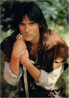 Michael Praed as Robin of Loxley -- So handsome. He is the KING of sutble acting. Watch him very carefully. Every thought and emotion his character is thinking and feeling is plainly written on his face. He is hands down the best Robin Hood ever. Jason Connery, Ray Winstone, Richard Carpenter, Robin Hood Bbc, Star Wars, Illustrations, Gorgeous Men, Actors & Actresses, Tv Shows
