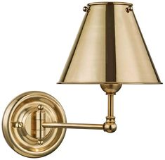Classic No.1 Aged Brass Swing Arm Wall Lamp #walllamp #walllights #walllighting #bathroomlighting #readinglamps Schonbek Lighting, Swing Arm Wall Sconce, Designer Shades, Modern Fan, Modern Wall Sconces, Hudson Valley Lighting, Modern Materials, Polished Nickel, Modern Lighting