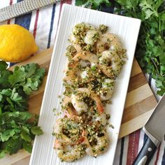 Grilled Prawns with Cashew Cilantro Pesto. Easy dish for entertaining.
