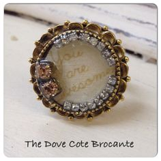 Antique Gold and Rhinestone Ring by TheDoveCoteBrocante on Etsy