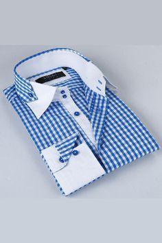 Zack Luxe Shirt in Sky Blue And White - Coogi Formal Shirts For Men, Men Formal, Shirt Collar Styles, Collar Shirts, Gents Shirts, Mens Designer Shirts, Shirting Fabric, Men Design, Moda Fashion