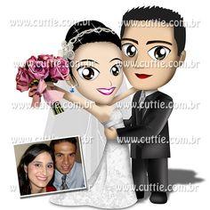 Caricatura para casamento - Noivos Tabata e Willian - noivinhos cuttie