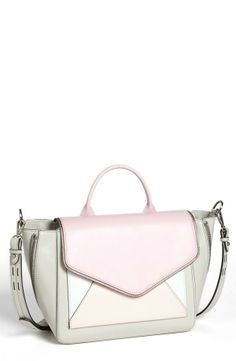 Love this Rebecca Minkoff satchel for work. Adore the mix of pastel pink, coral and grey.
