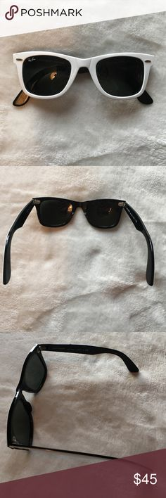 White Raybans White RayBan sunglasses, black inside, very good condition Ray-Ban Accessories Sunglasses