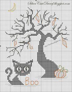 black cat & Halloween tree chart