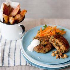Moroccan Lamb, Chickpea & Carrot Burgers