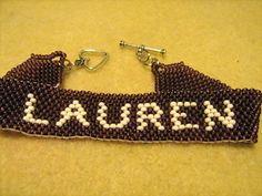 peyote stitch name bracelet with toggle clasp
