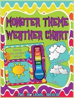 Your students will love tracking the weather with this adorable monster theme weather chart! The chart measures 15 x 15 inches and will go great with any monster theme classroom décor. Seven different weather cards in a choice of blue or white are included: Sunny, Partly Sunny, Cloudy, Rainy, Snowy, Stormy, and Windy. Easy assembly instructions are provided. $