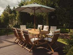 Creel 8 Seater Dining Set with Cushions Sol 72 Outdoor Colour: Beige/Green Wooden Garden Chairs, Folding Garden Chairs, Rattan Dining Chairs, Garden Dining Set, Patio Dining, Dining Chair Set, Outdoor Dining, Parasol, Maui