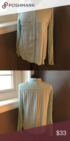 The SOFTEST mint green button up shirt Mint green button up shirt from Nordstrom. This shirt is in excellent used condition and would be perfect for the end of summer into fall. They sure is probably one of the softest shirt I've ever owned, so comfy! Rubbish Tops Button Down Shirts