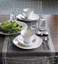 duo grey placemat for two modern table linens
