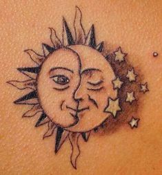 I have wanted this tattoo for my left shoulder FOREVER. First thing I'm having done on my 18th! I want this tattoo because my dad, who passed away when I was 6 had a sun on his left shoulder and my uncle has a moon on his left so I wanted to find the perfect tattoo to incorporate the two along with some stars which represent myself.