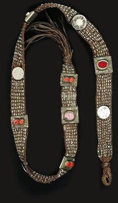 Yemen | Man's belt; leather, coral, silver and old coins | ca. early 20th century