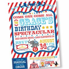 Circus birthday party printable Circus invitation