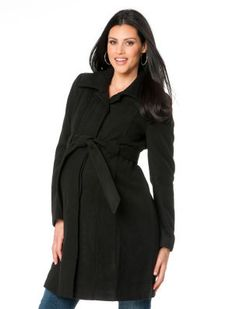 Motherhood Maternity - Belted Maternity Coat - $99. Sleeves are too short, but it's better than walking around with an open coat on -15F mornings...