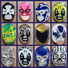 lucha libre wrestling  mask pin's, 1 inch #Unbranded