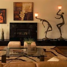 African American Art Design Ideas Pictures Remodel And Decor Love The Lighted Sculptures Living Room