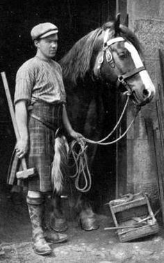 Old photograph image of a Blacksmith in Pitlochry, Highland Perthshire, Scotland. wearing a tartan plaid kilt. Old Pictures, Old Photos, Scotland History, Scotland Men, Glasgow Scotland, Scotland Travel, Edinburgh, Shetland, Men In Kilts