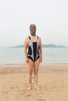 These colourful full-face Lycra balaclavas are said to protect the swimmers from the sun and are sometimes paired with long-sleeve bodysuits to complete the look. The masks help maintain a natural, un-bronzed skin tone, which is popular in China as it eschews any associations with outdoor labour.