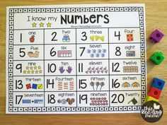 Printable Number Chart for Numbers 1-20