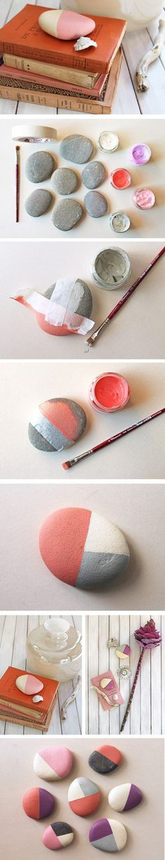 Brilliant idea of painted river rocks as DIY paper weights and easy home decor @istandarddesign