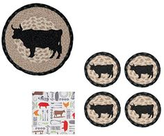 Bull Cow Jute Trivet and Coasters with Farm Animal Cocktail Napkins Set