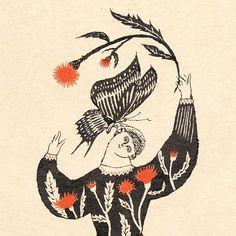 no.215 「蝶のささやき」  墨汁 sumi  #illustration#イラスト#drawing#絵本#book