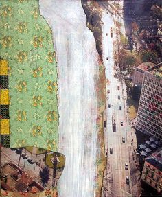 Bruce Reynolds Wet Road North, 2011, paint, giclee print and lino on wood panel, 155 x 122cm