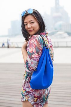 Daily outfit - Floral Zimmermann playsuit and blue neoprene bag in Shanghai's Bund | Xssat Street Fashion
