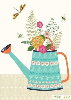 Bethan Janine // Watering can - Diy acorns - Diy undertale - Art And Illustration, Floral Illustrations, Pattern Illustration, A4 Poster, Arte Floral, Whimsical Art, Print Patterns, Fabric Patterns, Folk Art