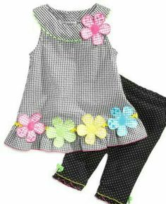 Bonnie Jean Baby Set, Baby Girls Boat Neck Tunic and Legging Set - Lolo Fashion menino meninas Frocks For Girls, Kids Frocks, Little Girl Outfits, Little Girl Dresses, Kids Outfits, Baby Dress Patterns, Doll Clothes Patterns, Toddler Dress, Toddler Girl