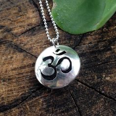 Om Sterling Silver Essential Oil Necklace. Om by QuietTimeJewelry