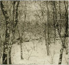 "Gillian Pederson-Krag : Etching, Winter, 8 x 9"""