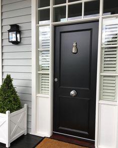 My 'Hamptons' style front door, complete with pineapple door knocker! My 'Hamptons' style front door, complete with pineapple door knocker! Front Door Entrance, House Front Door, House Entrance, Front Entry, Black Front Doors, Modern Front Door, Front Door Handles, Front Door Makeover, Porche