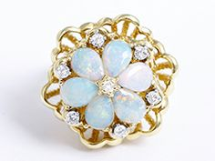 18K Yellow Gold Opal and Diamond Flower Cocktail Ring 6.25