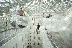 'bubble architect' Tomás Saraceno - In Orbit installation in Dusseldorf Germany 2013 #art #architecture #sculpture