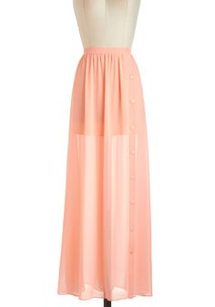Outdoor Music Fête Skirt - Orange, Solid, Daytime Party, Pastel, Maxi, Sheer, Long, Casual, Beach/Resort