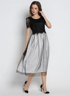 Kleider - $69.59 - Baumwolle Polyester Farbquadrat kurze Hülse Midi Lässige Kleidung Kleider (1955094299)