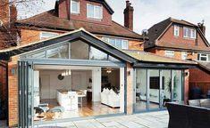 If you are looking to add space to your home, a rear extension might be the easiest to accommodate from a planning and spatial point of view. Homebuilding & Renovating shares projects to inspire you House Extension Plans, House Extension Design, Extension Designs, Glass Extension, Rear Extension, Extension Google, Cottage Extension, Bifold Doors Extension, Wraparound Extension