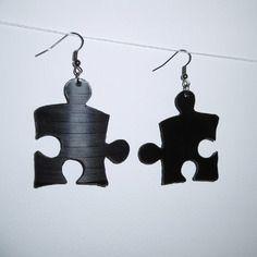Boucles d'oreilles rétro en disque vinyle - puzzle 1