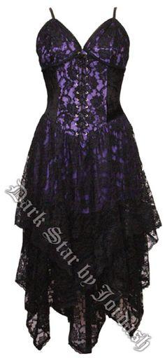 Dark Star Gothic Black & Purple Lace Corset Dress [DS/DR/21P] - $94.99 : Mystic Crypt, the most unique, hard to find items at ghoulishly great prices!