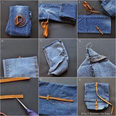 Bolso de pantalón vaquero viejo DIY | Aprender manualidades es facilisimo.com