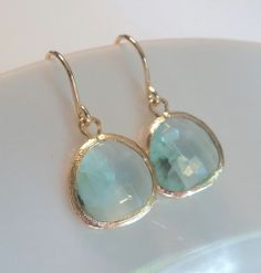 Soft green prasiolite glass and gold dangle earrings.  French wires.  Everyday.  Bridal.  Simple and Gorgeous.. $22.00, via Etsy.