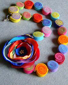 Vilten sieraden - Vilt Ketting - Een uniek product van Ifffka op DaWanda