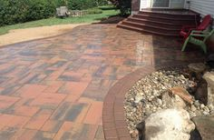 Cambridge Pavers entryway. Installed by iScape. Check out that color scheme!