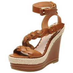 Mulberry Braided Wedge in Oak Toscana Leather - $550
